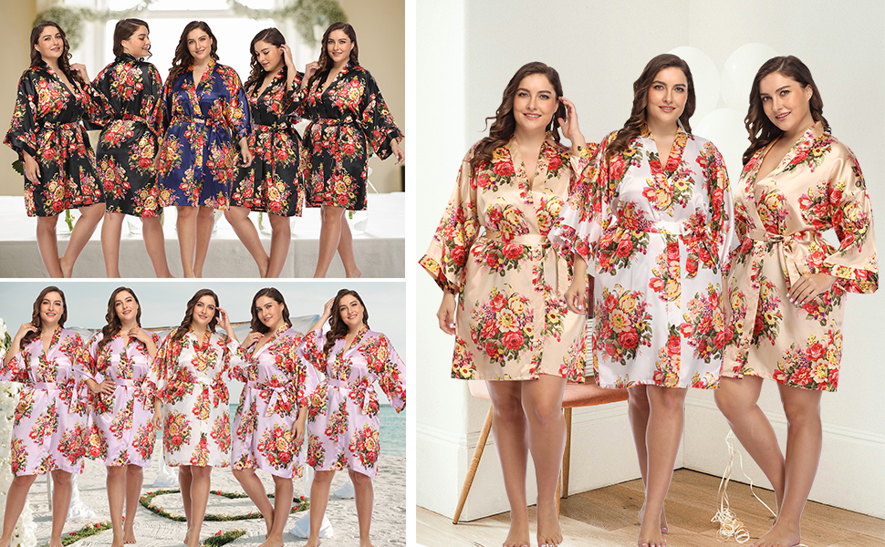 wedding party robes plus size kimono robes for women silky bathrobe bridal nightgown lingerie robe