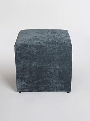 Hocker blau grau samt eckig Würfel quadratisch pouf samt Samthocker hell dunkel