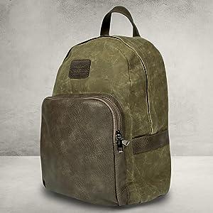 Zaino vintage color marrone kaki o verde militare con effetto slavato