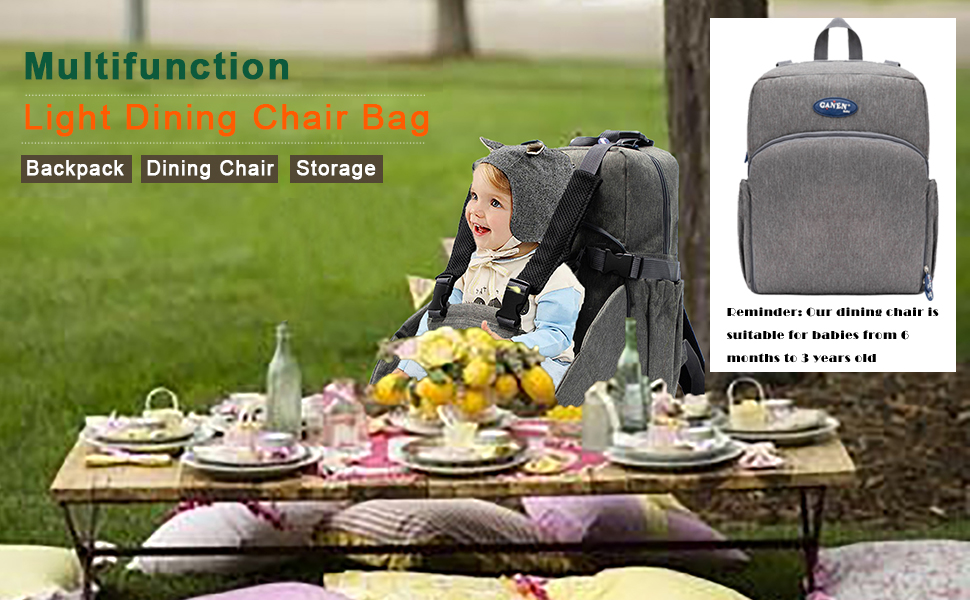 a mommy bag and a dining chair
