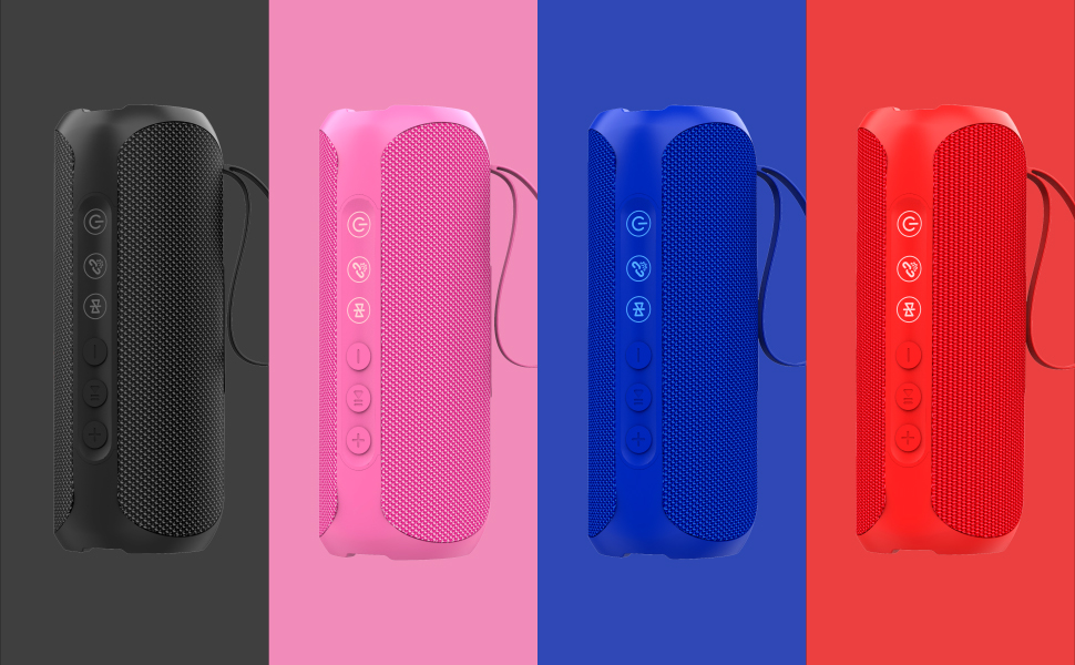 Wharfedale Bluetooth Speaker 20W Wireless Portable Speaker,IPX7 Waterproof,Rich Bass,Loud Sound,Power Bank,8H Playtime,Bulit-in Mic,For Camping,Outdoors,Garden,Shower /… Pink
