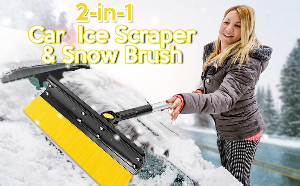 Extendable Ice Scraper and Snow Brush Foam Grip