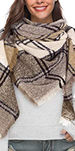 Sciarpa Donna Caldo Scialle Inverno Stole con Nappa Plaid Quadrato Poncho Invernale Tartan