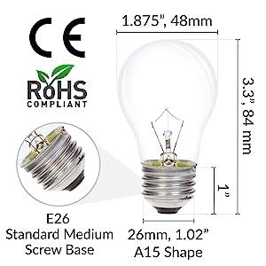 a15 e26 standard medium screw base light bulb dimensions length width diameter ce rohs