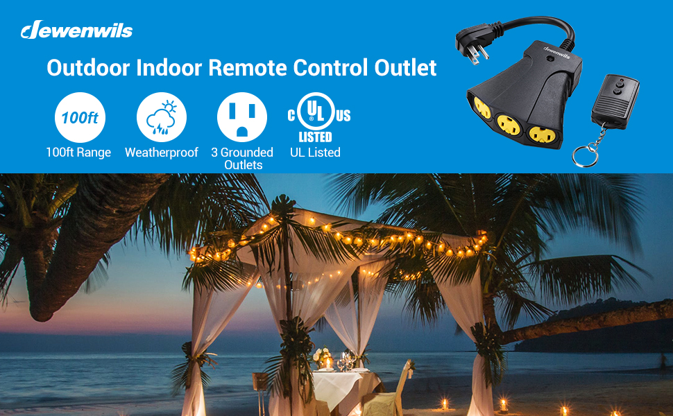 Dewenwils Indoor Outdoor Wireless Remote Control Outlet Kit Extension Cord power strip weatherproof
