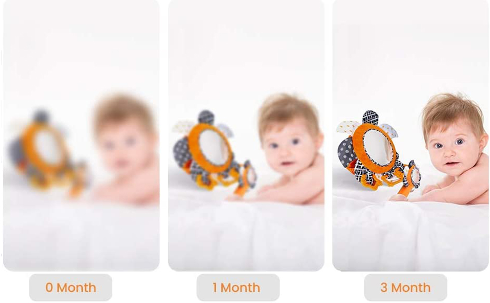 Black and White Baby Toys 0-3 Months Sensory Toys for Infants KUANGO Tummy Time Floor Mirror Double Sides High Contrast Activity Developmental Newborn Toys
