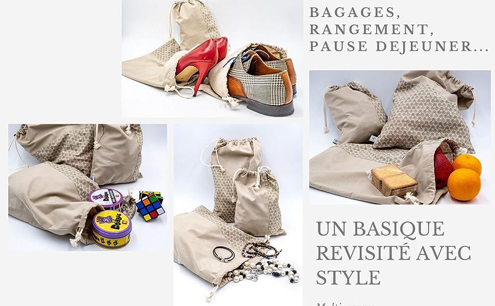 Poropango Sac de Rangement Organisateur de Voyage Organiseur de Valise Bagage Lot de 3 Sacs 100/% Coton Fabriqu/és en France
