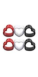 6pcs Heart Shaped Acrylic Ear Plugs Set Mix Color Stretcher Expander