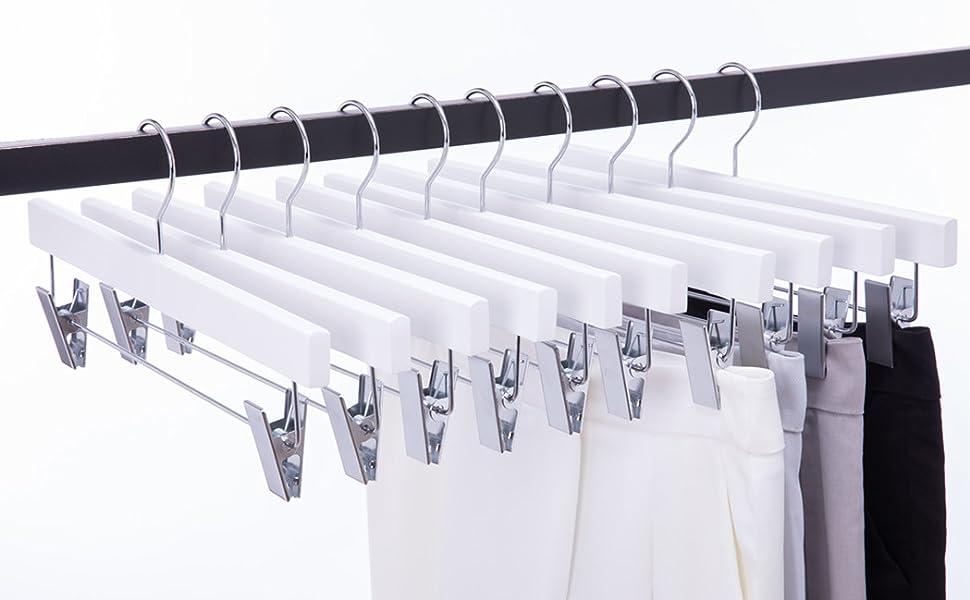 White Wooden clips hanger wooden hanger  hanger clip skirt hanger white pants hanger jeans hanger