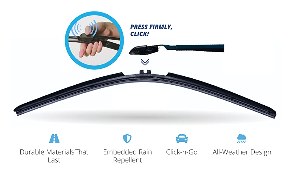 Photo demonstrating how to attach Clix wiper to wiper arm. Text above reads: Press Firmly, Click!