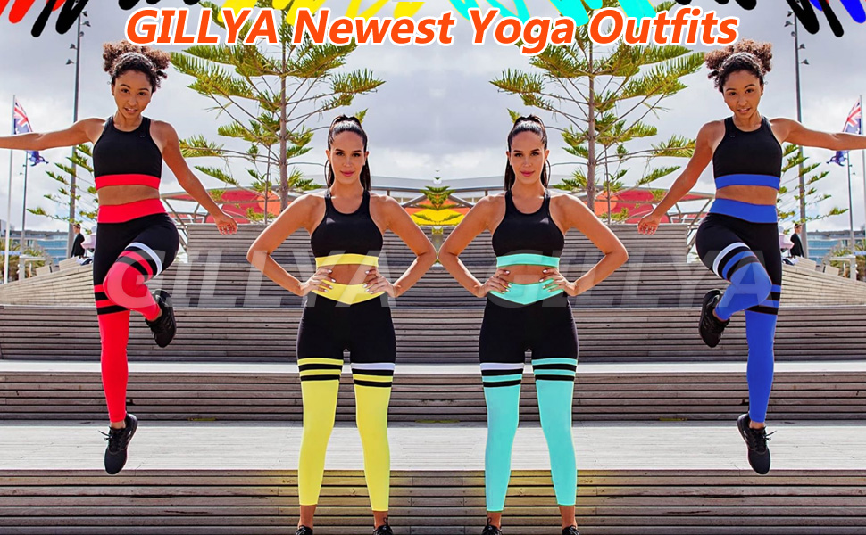 Yoga Workout Outfits for Women 2 Piece Set Gym Leggings Top Bra Set Fitness Gym Outfits Set