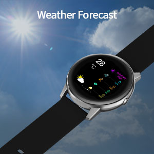 round smart watch with weather forecast