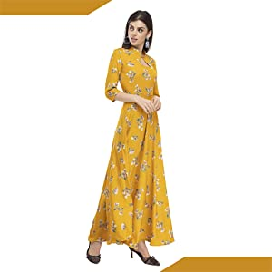 B08FHCDP89  RUDRAKRITI Women Crepe Yellow Solid Flared Dress with Free mask SPN FOR-1