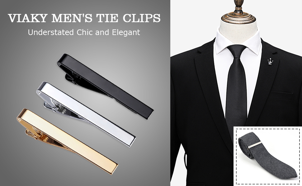Amazon.com: Viaky Classic Style Men's Tie Clips, Neck Ties Necktie Bar  Pinch Clip with Gold Silver Black 3 Tone, Best Gifts for Your Father, Lover  and Friends in Xmas, Anniversary, Wedding, Party,
