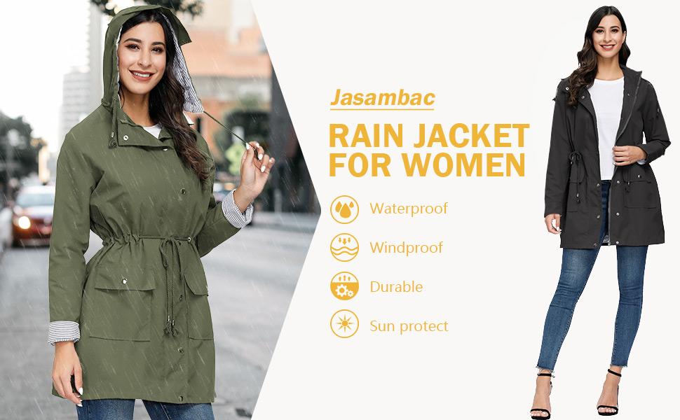 Women's rain jacket with hood