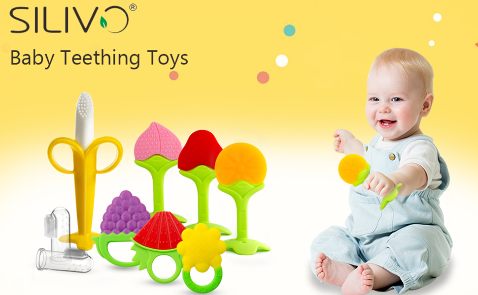 SILIVO baby fruit teething toys and finger toothbrushes for babies to relieve teething discomfort
