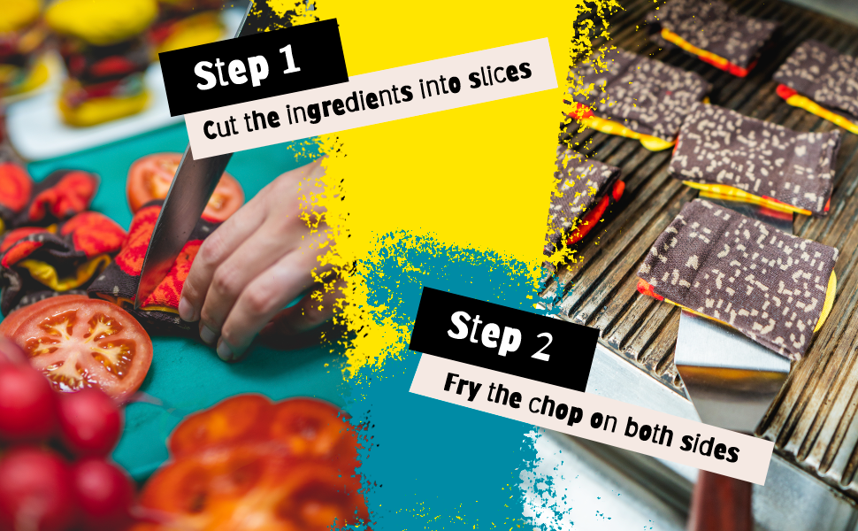 Step 1 Cut the ingredients into slices Step 2 Fry the chop on both sides