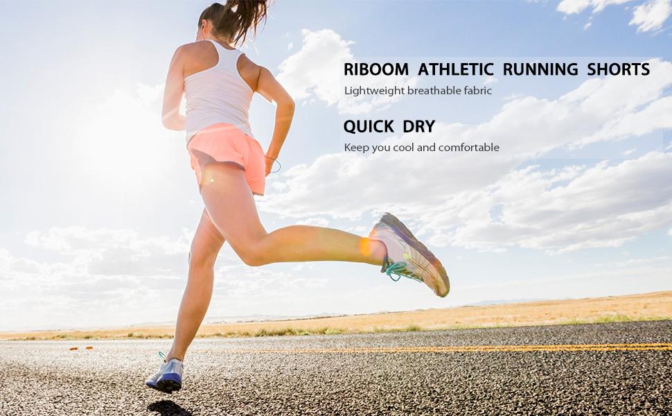 RIBOOM Women Workout Running Shorts 2 in 1 Sport Shorts Yoga Gym ...