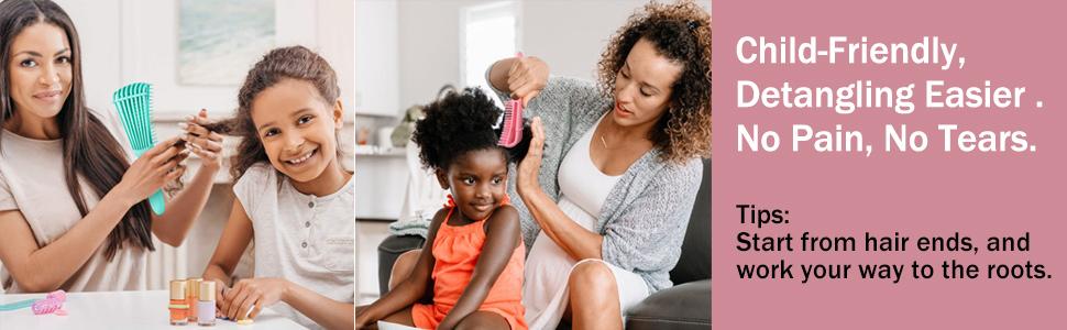 ez detangling hair brush comb for kids women men