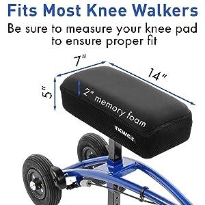 Knee Scooter Memory Foam Knee Pad Cover Fits Most Knee Walkers
