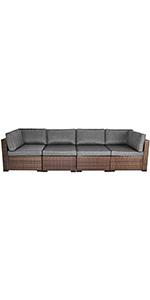 4 PCs Patio Sectional Sofa