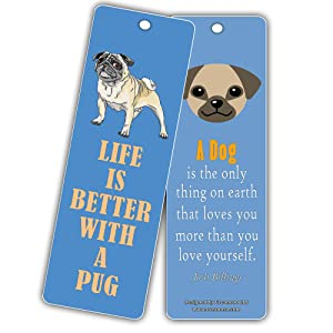 Black Pug Dog /'Yours Forever/' Bookmark Book Mark Birthday Gift Idea AD-P97yBM