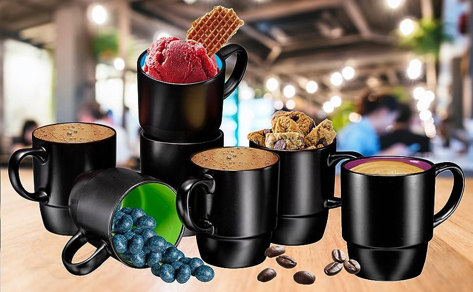 Porcelain Mugs for Coffee, Tea, Cocoa, 18 Ounce, Set of 6, Hot Assorted