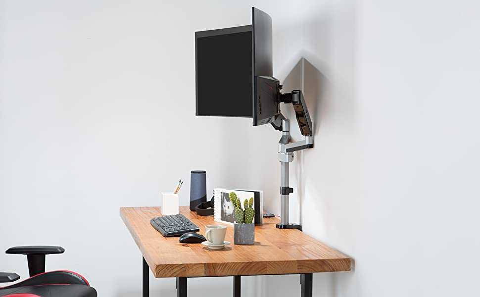 The floated monitors increase at least 30% usage space. Put away the cumbersome plastic monitor base