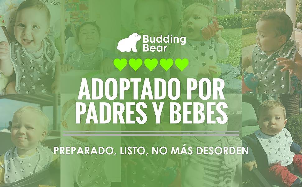 Budding Bear Baberos Bebe Unisex Algodón 100% Orgánico (Pack de 5 ...