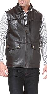 BGSD Men's Zip Front Goatskin Leather Vest