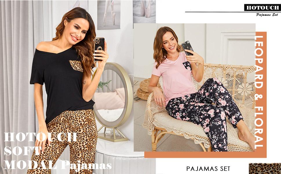 Womens Pajama Set Short Sleeve Sleepwear PJ Pants set two piece Loungewear lounge set pjs