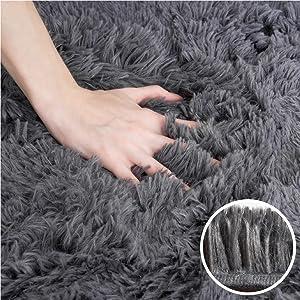 Grey  Fluffy Area Rug
