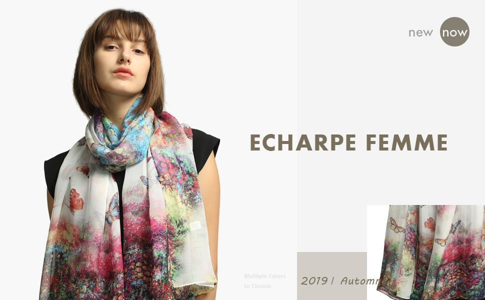 110CM STORY OF SHANGHAI Femme Foulard 100/% Soie Imprime Floral Color/é Grande Echarpe Ch/âle Ultra-L/éger Respirant El/égant 175
