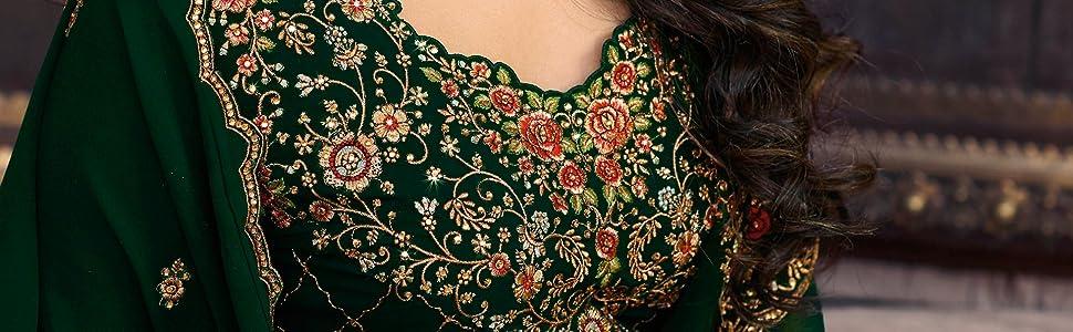 embroidered salwar suit pakistani suit a line kurta kameez with dupatta free size semi stitched