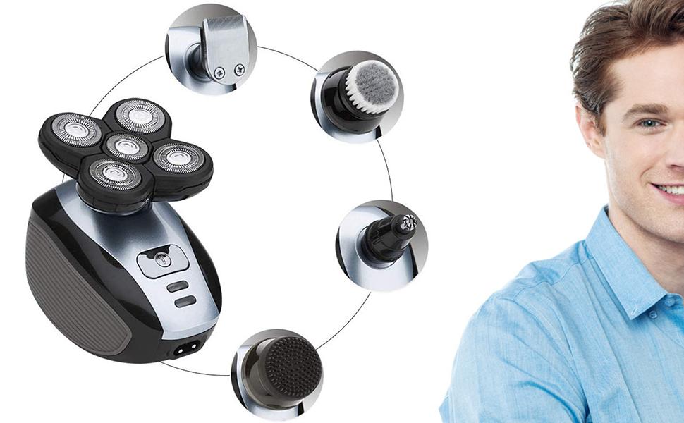 Anself Maquinilla de Afeitar para Hombres, Multifuncional, 5 Cabezales, Afeitadora Eléctrica para Calvicie, Afeitadora recargable, barba lavable, Recortadora de cabello sin cable: Amazon.es: Belleza