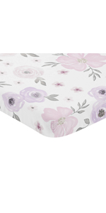 Lavender Purple, Pink, Grey and White Baby Girl Fitted Mini Portable Crib Sheet Watercolor Floral