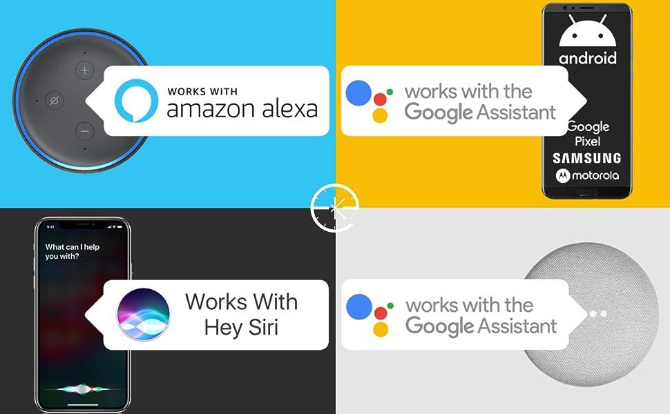 works with alexa siri google assistant hey google echo dot google home shortcuts samsung apple pixel