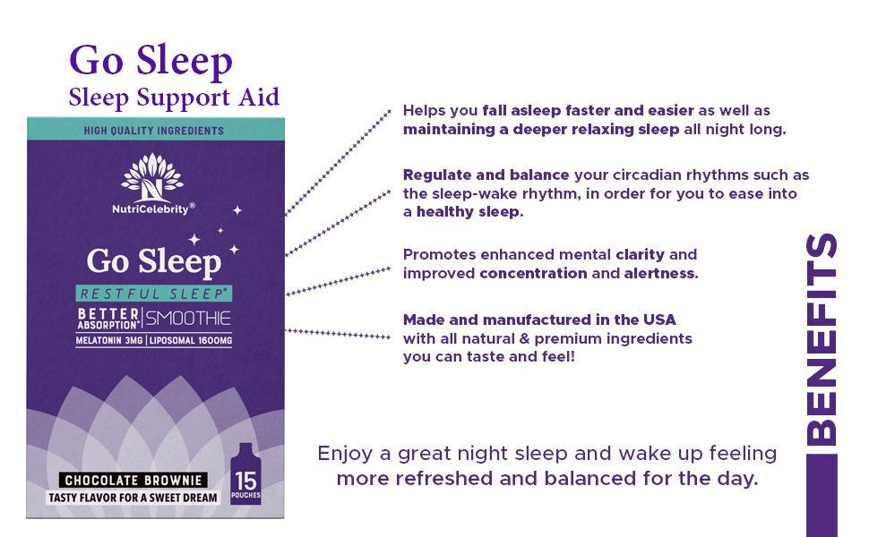 Nutricelebrity Go Sleep Sleep Support Aid great night sleep and wake up feeling refreshed next day