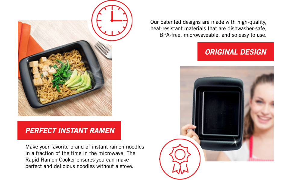 rapid ramen cooker microwave ramen in 3 minutes bpa free and dishwasher safe black