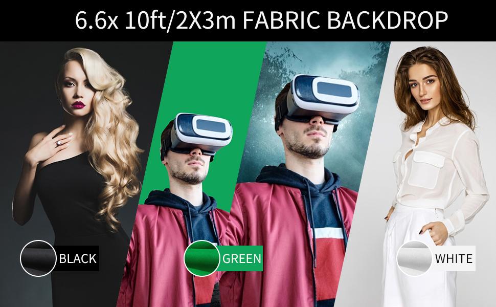6.green screen 6x 10ft/2X3m FABRIC BACKDROP BLACK GREEN WHITE
