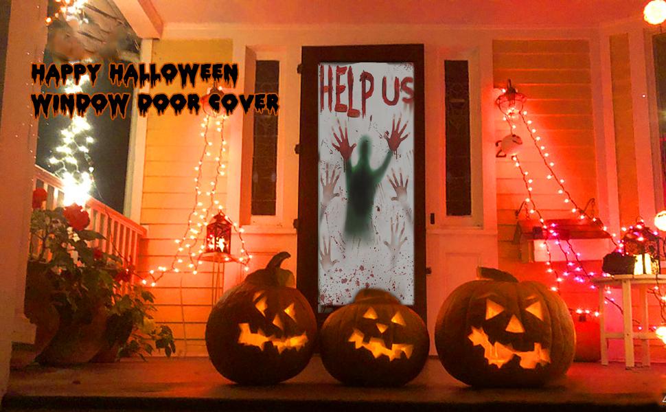 Halloween Window Door Decoration Covers Set