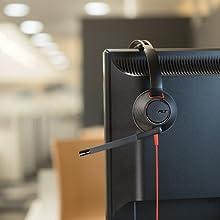 wired mic head sets binaural telephone game wire gaming communication headphone
