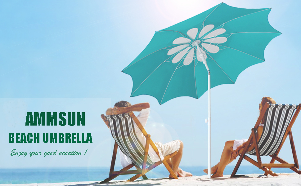 AMMSUN BEACH UMBRELLA travel portable compact uv vent tilt beach umbrella with sand anchor Patio
