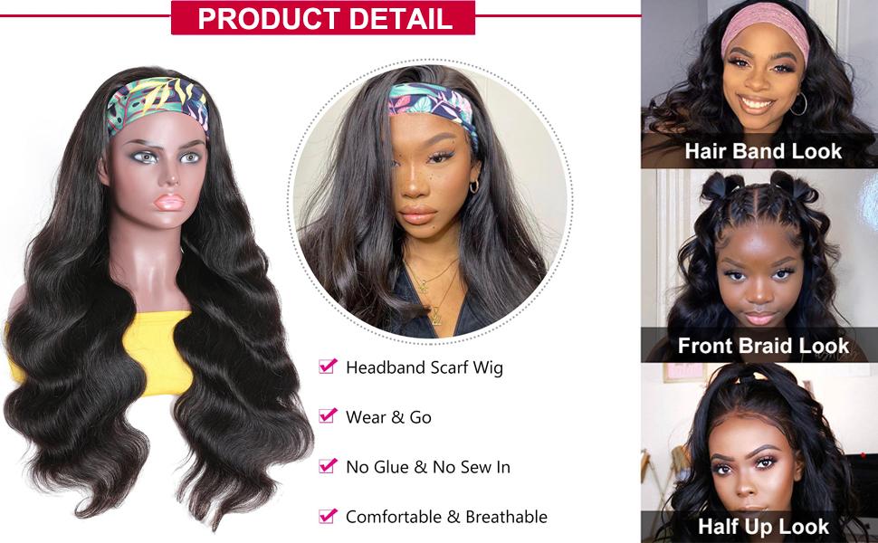 body wave scaf wigs