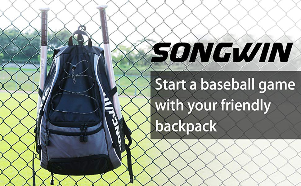 Songwin Mochila Beisbol – Mochila para Equipo de béisbol, Mochila de béisbol/Softball de Gran Capacidad para 2 murciélagos, Casco