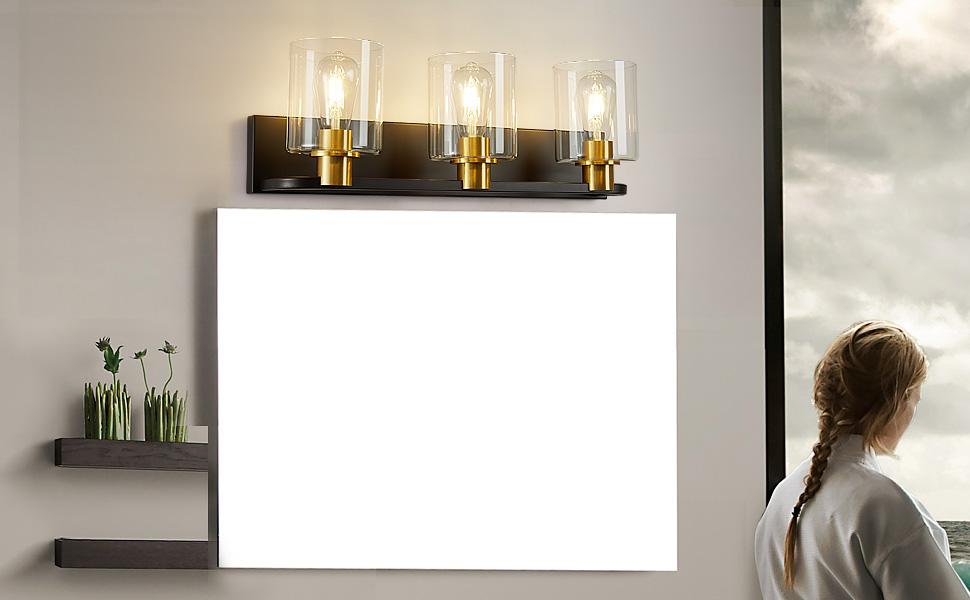 Modern Vanity Lighting Fixture LED Bathroom Rectangular Acrylic Lenses Energy Efficient Wall Light