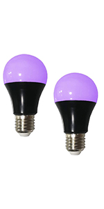 UV LED Black Light Bulb 2 Pack, 8W (60W Equivalent) A19 E26