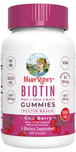 maryruth sugar free hair nail skin pills men beard bear B12 B7 growth skin nails women loss organic