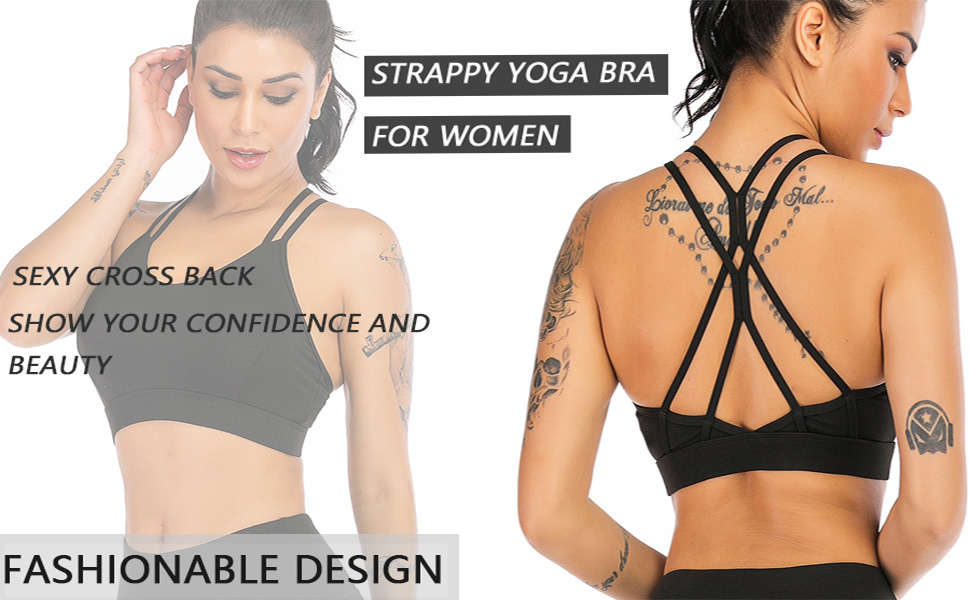 OVESPORT Strappy Sports Bra for Women Cross Back Medium Support Bras with Removable Cups Open Back Workout Yoga Tops Bra