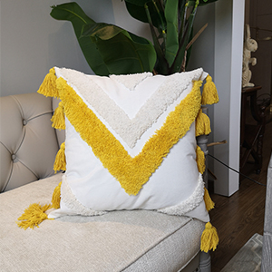 lumbar throw pillow cover decorative tassels tufted boho morocco tribal living room sofa bed yellow